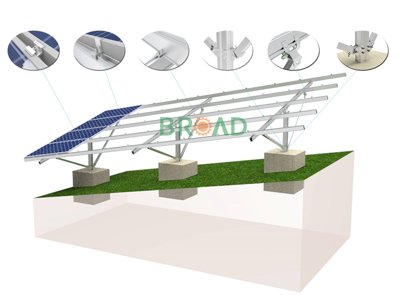 inclined solar projects installation