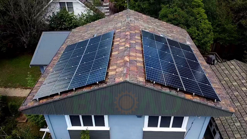 solar panels on pitched tile roman roof